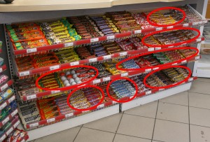 Unfamilar Candy Bars.  Many thanks to Susan at the Esso station for allowing me to takie this photo
