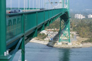 The Lions Gate Bridge from Stanley Park to North and West Vancouver