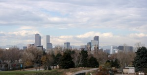The first and only view of the Denver skyline I found