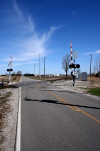 Railroad crossing on Ridge Line Road